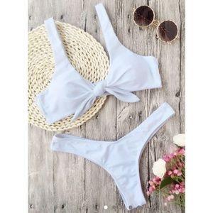 ZAFUL white tied from ruched thong bikini (L)